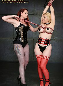 SubMissAnn gets bound and suspended by Long legged Mistress Nikki Nefarious