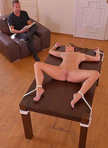 Bondage Bombshell: Tied To The Table And Fucked Up Her Ass