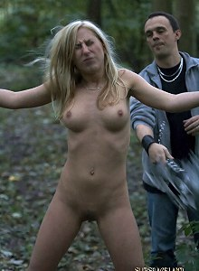 Slave girl suffers with a good hard whip session in the woods