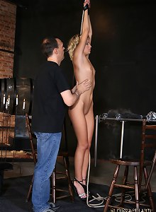 Tormentor put his slave girl in different bondages