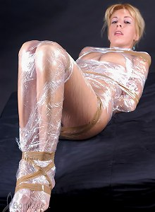 Nice shaped blonde wrapped in plastic