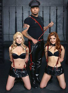 Cruel master plays with his adorable slavegirils Bambii Lily and Master Liam