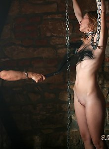 Shy submissive slut endures a long hard whipping session